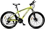 baozge Bicicleta de montaña para Adultos Doble Freno de Disco/Bicicletas de Cuadro de Acero de Alto Carbono Playa Moto de Nieve Bicicleta Unisex Ruedas de 26 Pulgadas Verde 21 velocidades