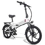 Bicicleta Eléctrica de Montaña Plegable 20 Pulgadas, Motor 350W Batería de Litio 48V 10.4AH Shimano 7 Velocidades Soporte y Carga USB para Teléfonos Móviles para Mujeres Hombres [EU Stock]