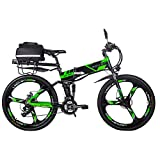 RICH BIT Bicicleta Eléctrica 250W Bicicleta Plegable de Montaña LG Li Batería 36V * 12.8 Ah Smart eBike 26 Pulgadas MTB RT-860 para Hombres/Adultos (Green-2.0)