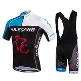 Feilaxleer Ropa Ciclismo Verano para Hombre y Mujer - Un Conjunto de Ciclismo Jersey Maillot y Culotte Pantalones Cortos (Negro Azul,M)