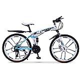 DRAKE18 Bicicleta de montaña Plegable, 26 Pulgadas Off-Road 30 velocidades, Velocidad Variable, Doble amortiguación de los Hombres, Bicicleta, señoras, Montar a Caballo al Aire Libre, Adultos,C