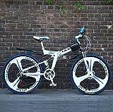 Bicicleta de montaña plegable para hombres y mujeres adultos, bicicleta de montaña de doble suspensión de acero con alto contenido de carbono, ruedas de aleación de magnesio,Blanco,24inch21 speed